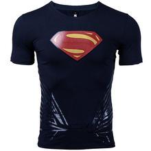 Супермен Футболка мужская 3D печать футболка s хлопок лайкра компрессионные рубашки 2017 новая мода короткий рукав топы для мужчин фитнес ткан...(China)