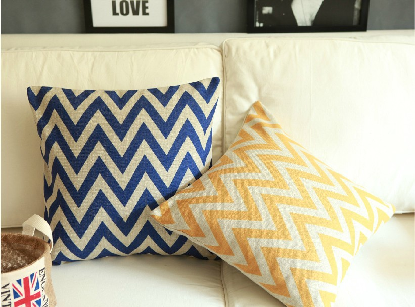 Blue Yellow Stripes Pillow Case Decor - Tootkook Specialty Stores store