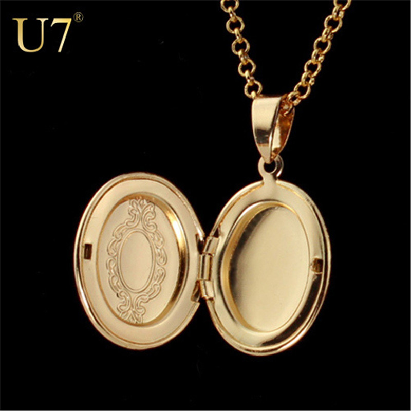 U7 European Style Locket Gold Plated Women Men Fashion Jewelry Wholesale Vintage Pendant