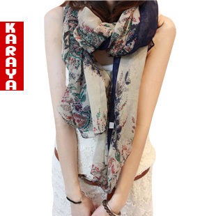 Bali yarn print cashers blue and white porcelain ultra long women's spring and autumn scarf