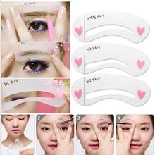Eyebrow stencils 3 styles reusable eyebrow drawing guide card brow template DIY make up tools FreeShipping