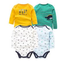 4 قطعة/الوحدة المولود الجديد الملابس 2018 جديد أزياء طفل الفتيان الفتيات الملابس 100% القطن الطفل ارتداءها طويلة الأكمام الرضع بذلة(China)
