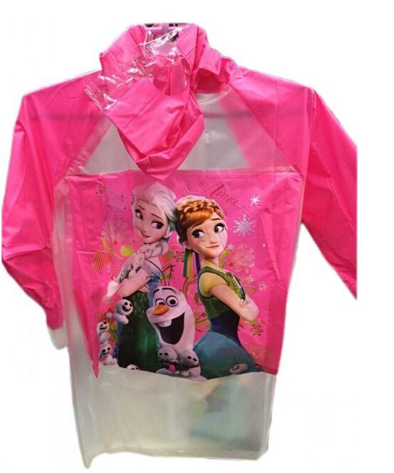 Children's Snow Queen Theme Rainwear girls cartoon princess Anna&Elsa Raincoat Waterproof Coat 2 designs(China (Mainland))