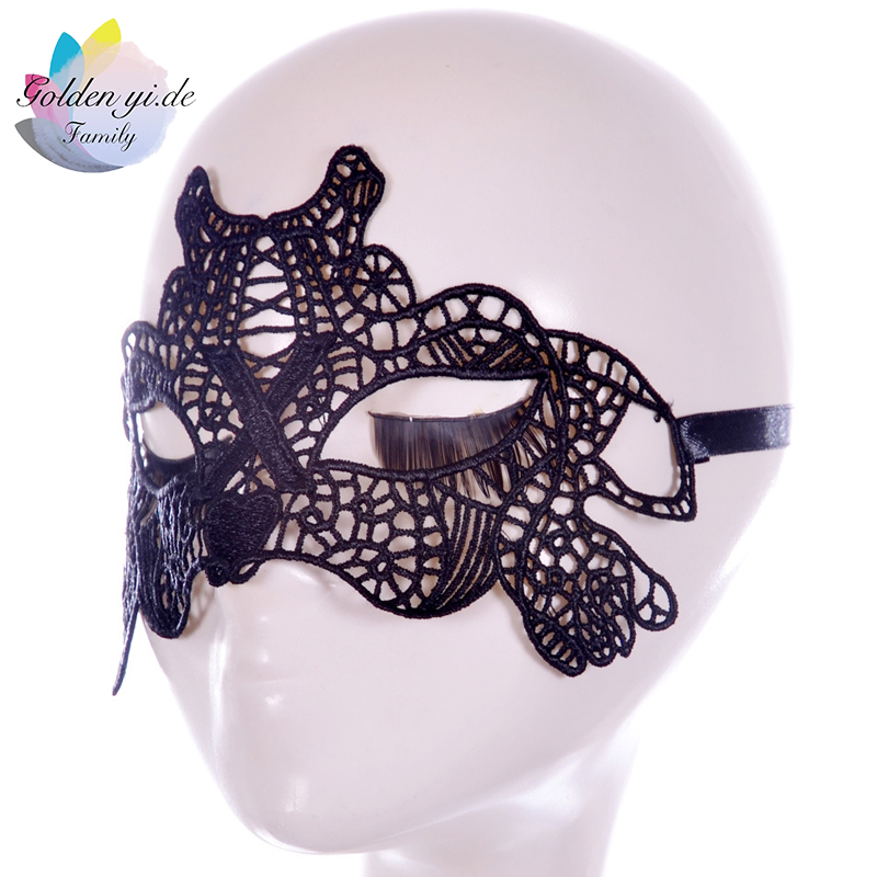 GYD 1PCS Black Hollow Mask Sexy Fun Lace Skull Facemask Skeleton Halloween Masquerade Dancing Party Decorations