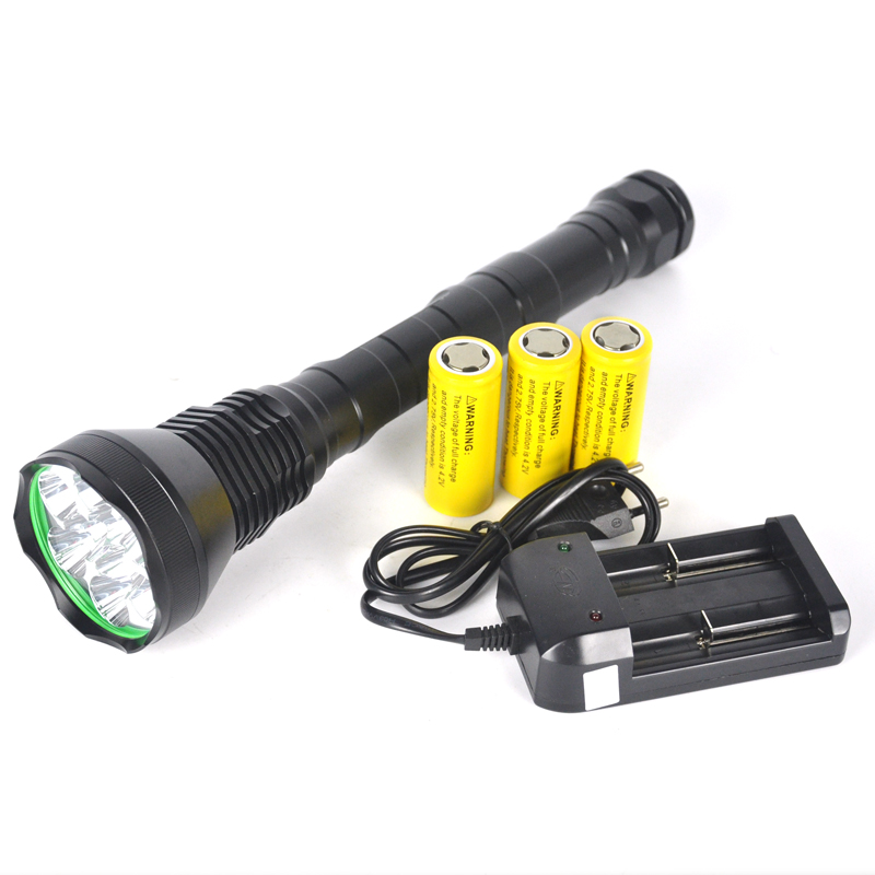 Фотография 11000 Lm tactical 9 x XML T6 LED Flashlight Torch 3 Mode 26650 lampe torche Flash Light Hunting Lantern +Battery+Charger