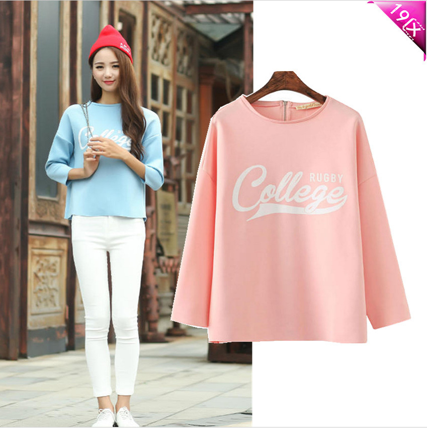 official website of the models letters printed with 7 points sleeve raglan sleeve loose T -shirt bottoming shirt(China (Mainland))