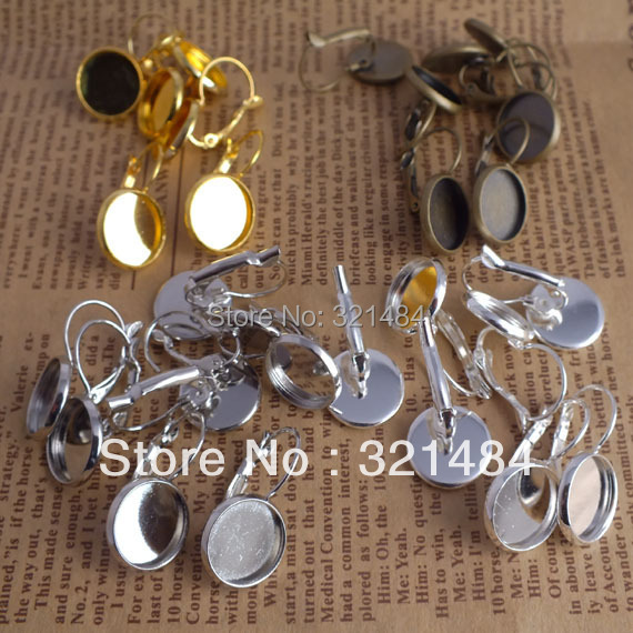 Mixed Metal 600pcs leverback earring blank with 14mm cabochon base Jewelry Findings Free shipping<br><br>Aliexpress