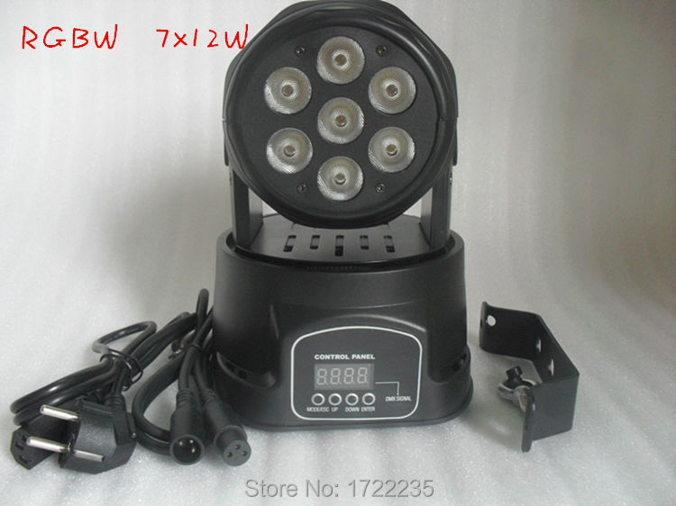 10 best-selling Color Mixing LED moving head mini wash 7x12w RGBW Quad Most advanced 7/12 channels Free Shipping(China (Mainland))