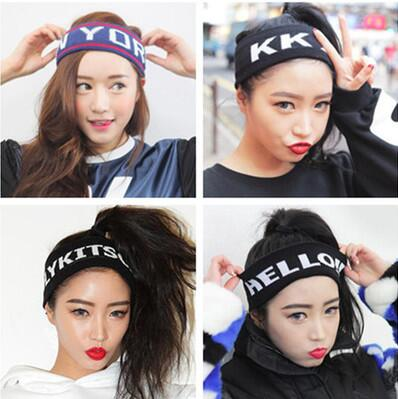 2016 New Hotsale Sweater Outdoor Sports Hip Hop caps Letter Character Elastic Headband/ Hairband for Women Fashion Accessories(China (Mainland))