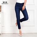 Women elastic waist pencil pants female ankle length jeans summer autumn trousers slim thin jeans skinny