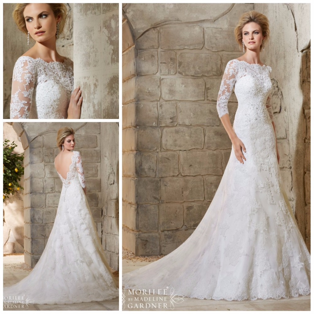 Hot sale scoop neck backless wedding dress 2015 three for Lace sleeve backless wedding dress