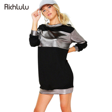 Buy RichLuLu Punk Street Casual Bodycon Dress Women Long Sleeve O-Neck Basic Loose Dress Office Lady OL Color Block Mini Dress Robe for $12.99 in AliExpress store