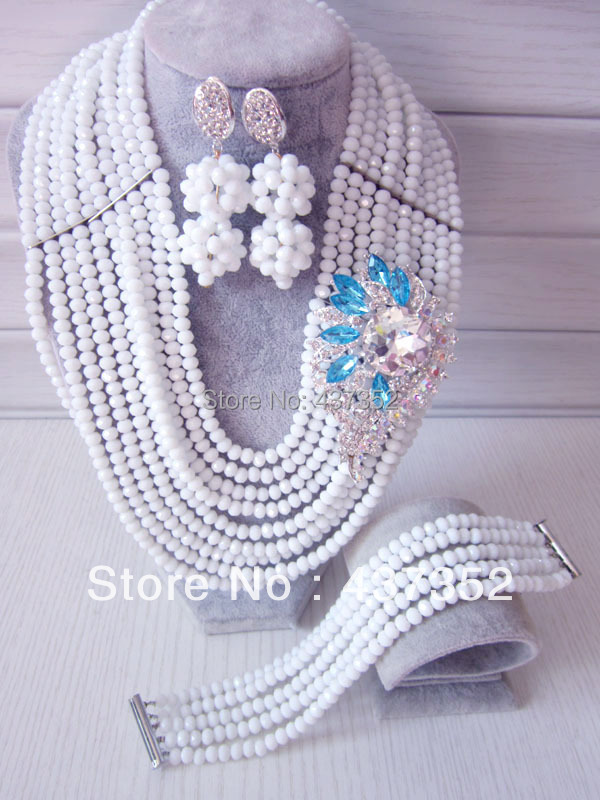 Fashion Nigerian Wedding African Beads Jewelry set White Crystal Necklace Bracelet Earrings Jewelry Set CPS-255<br><br>Aliexpress