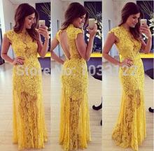 Vestido de guipir amarelo semi-longo