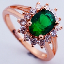 Fashion show 18K rose gold plated filled high quality green CZ diamond crystal classic wedding rings H2503