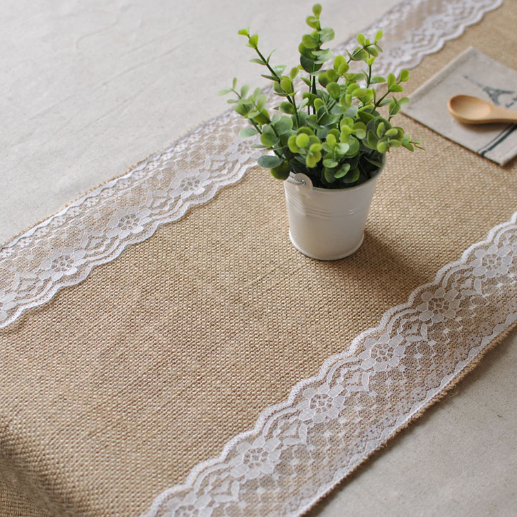 New White Vintage Jute Burlap Lace Hessian Table Runner Wedding Table Decoration(China (Mainland))