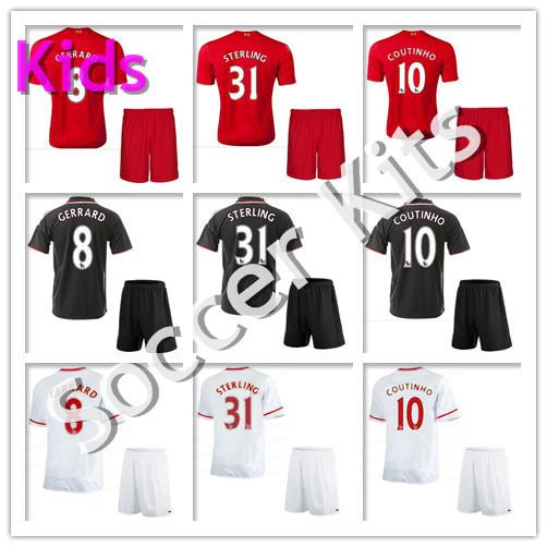 Kids 15 16 Soccer Jerseys 2016 GERRARD COUTINHO Maillot De Foot Football Shirts Uniforms Kits STERLING HENDERSON(China (Mainland))