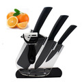 Newest black Ceramic knife 5pcs set 4 6 6 5 inch peeler Acrylic Holder fruit Chef