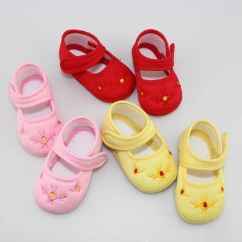 Lovely Inafnt Baby Girls Flower Print Solid Anti-slip Velcro Crib Shoes 0-18M