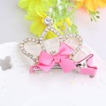 New Princess Hair Accessories Crown Shaped Hairpins Rhinestone Diamond Tiaras Barrette Ribbon Bow Baby Dance Party