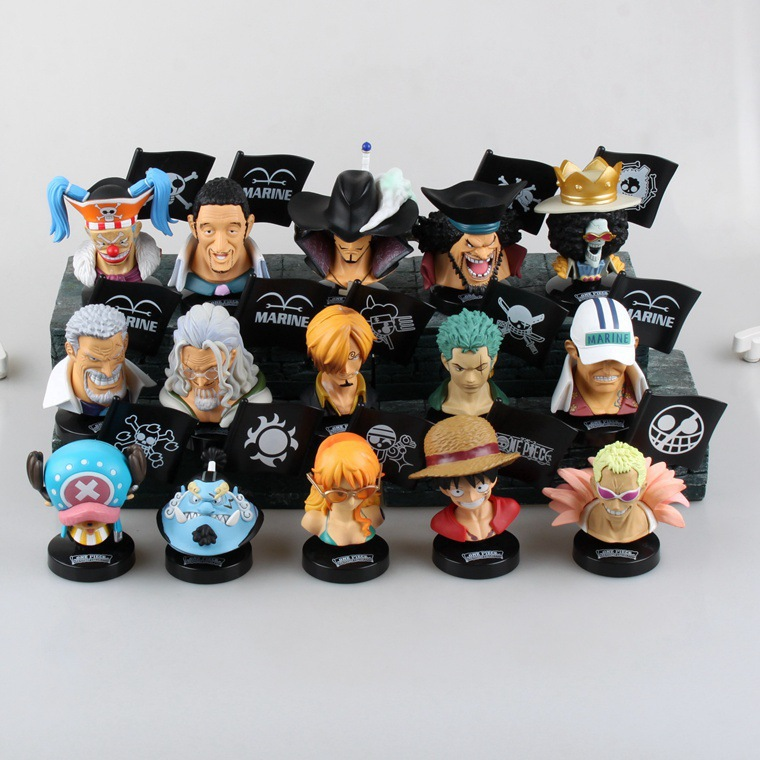 15 Pieces/set Anime Cartoon One Piece Luffy Nami Sanji Borsalino Head Icon Action Figure Car Decoration Collection Toys Gifts - Achiewell Toy store