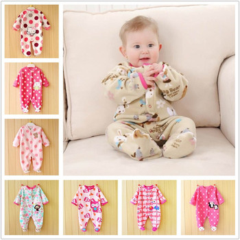 0-12M Spring Fleece Baby Rompers Cute Pink Baby Girl Clothing Infant Baby Girls Clothes Jumpsuits Footed Coverall V20