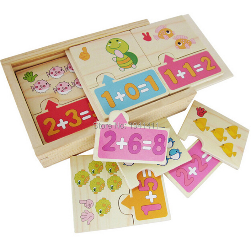 Cute wooden puzzles Math Addition Operation Montessori Jigsaw puzzle Children early childhood education math toys kids Gift(China (Mainland))