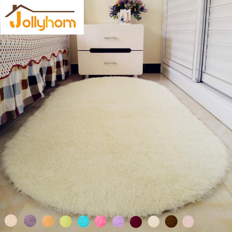 Solid Color Ellipse Carpet Mat Long Hair Shaggy Soft Area Rug Bedroom Living Room Anti Slip Kids Mat (1pc) 12 Colors