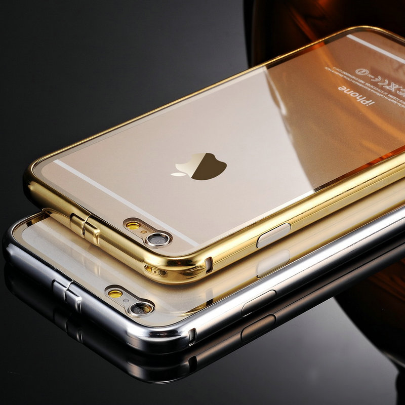 Ultrathin Gold Transparent Aluminum Case For iPhone 6 Luxury Back Cover For iPhone 6 Plus Free Tempered Glass Screen Protector(China (Mainland))