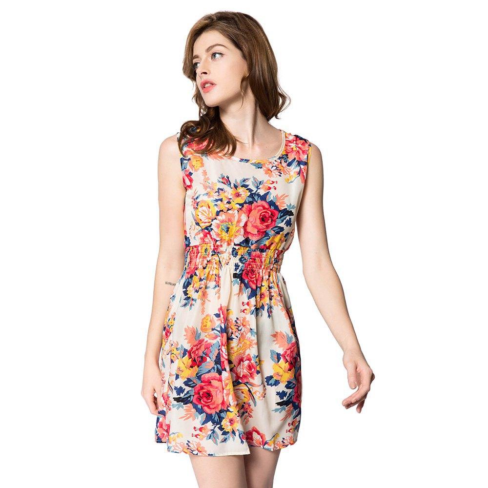 Chiffon Dress 21 Pattern O Neck Floral Print Flower Dress Polka Dot Chiffon Sundresses Summer Woman Beach Dress S-XXL 125708001(China (Mainland))