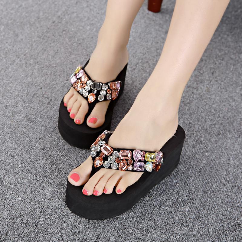 Sandals Femininas Real Limited Back Strap Shoes Summer Handmade 2015 Sparkling High-heeled Female Flip Flops Slippers Sandals<br><br>Aliexpress