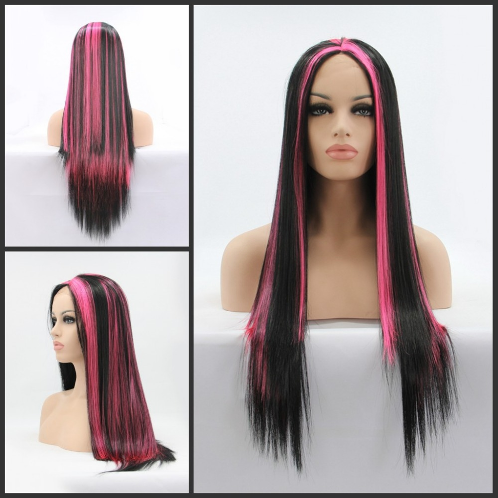 glueless heat resistant long natural black pink highlight silk straight Synthetic Lace Front hair wig - Qingdao noble queen factory store