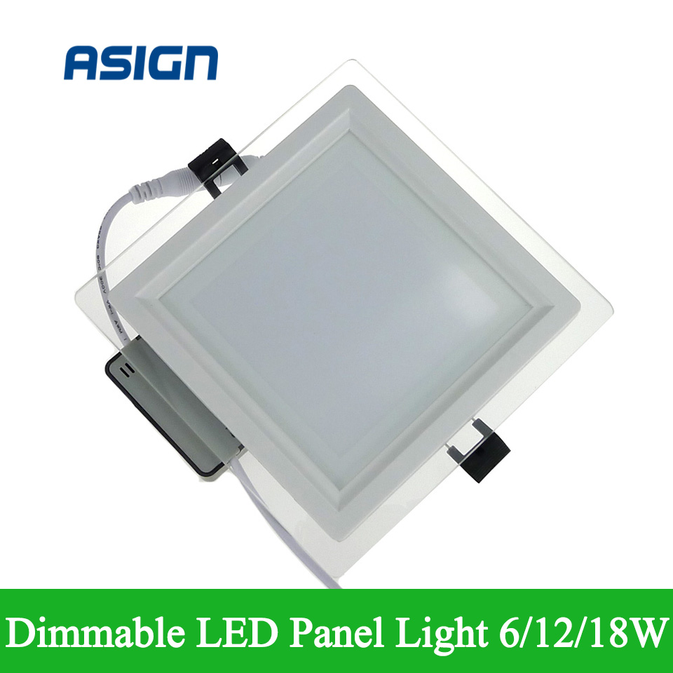 dimmable led panel light 6w 12w 18w square glass ceiling. Black Bedroom Furniture Sets. Home Design Ideas