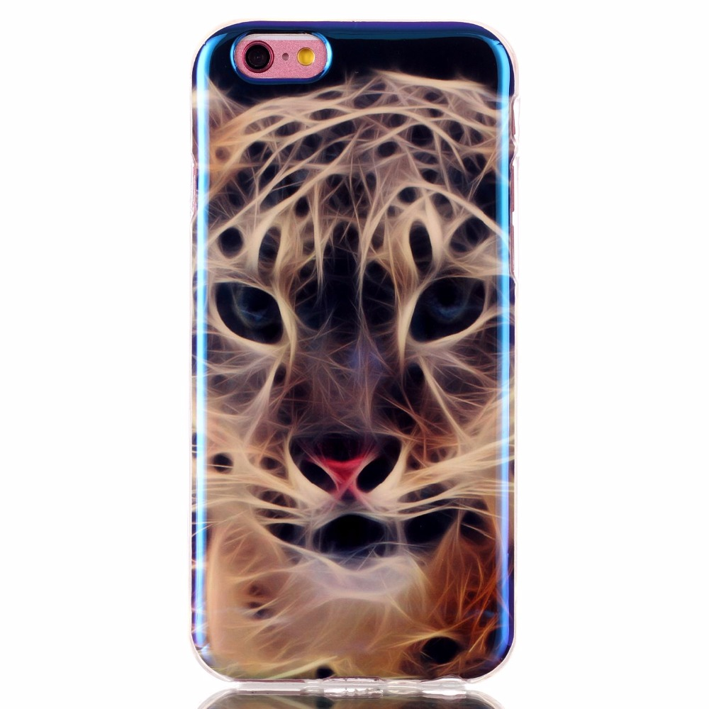 High Reflective Ultra Thin Soft Silicone TPU Colour decoration painting Case with Laser Blue light for Iphone 6/6S Back Cover(China (Mainland))