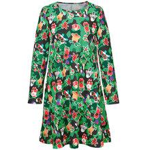 Kim Kardashian dress 2015 winter ladies new Christmas clothes dress Europe t cartoon print skirt in denim long sleeve dress