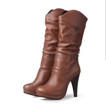 Meotina Chelsea Çizmeler Kadın Botları Pilili Aşırı Yüksek Topuk Orta Buzağı Çizmeler Platformu Kalın Topuk Ayakkabı Kadın Kış Büyük boyutu 46(China)