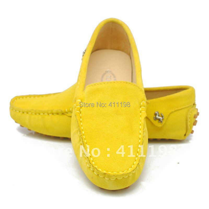 2015 New arrival Women's 100% Authentic leather Loafers lady Shoes + Moccasins Best seller F960 yellow color(China (Mainland))