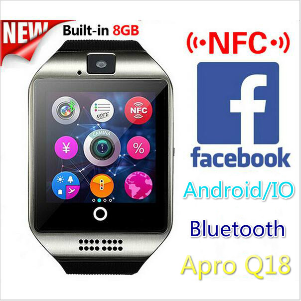 2016 NFC Bluetooth Smart Watch Apro Q18 Built in 8GB Support SIM GSM Video Camera Fitness Tracker For Android ios Smart Phone(China (Mainland))