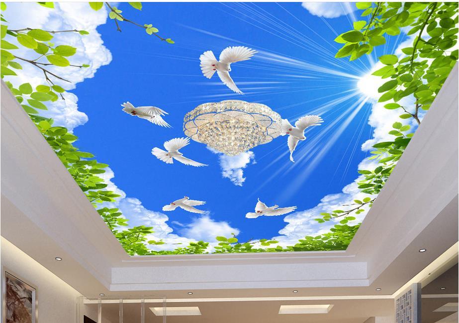 custom 3d ceiling murals wallpaper blue sky green leaves