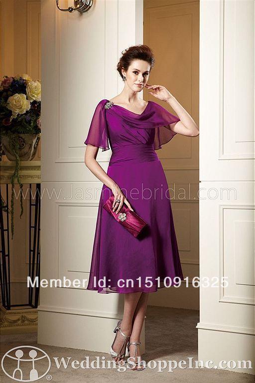 Unique Fashion 2014 A Line Short Mother Of Bridal Dresses With High Neck Tea Length Elegant