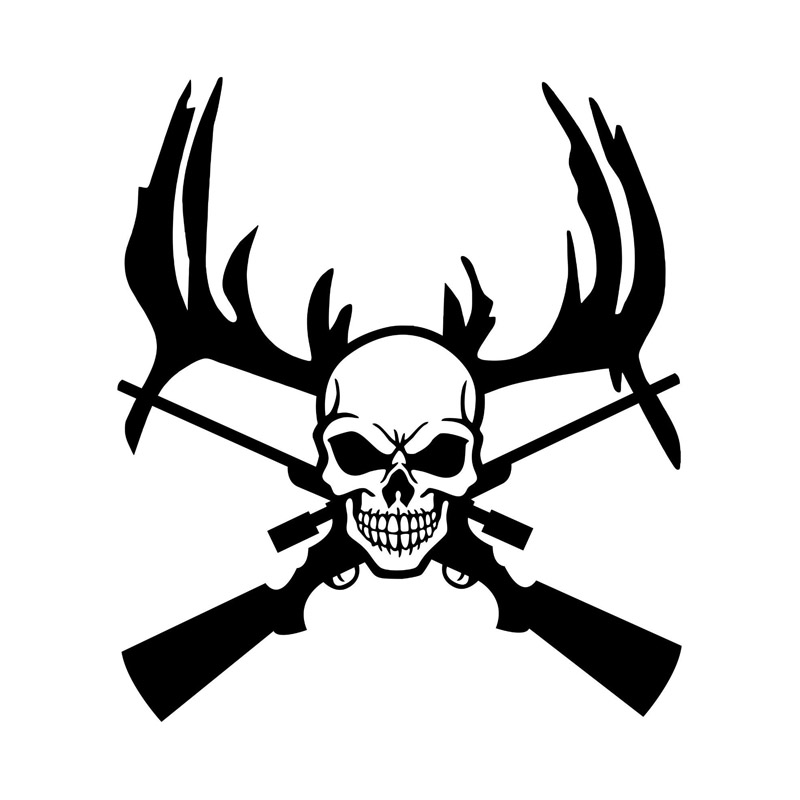 19.5CM*22.3.CM Machine Gun Hunting Deer Skull Car Stickers Fun Reflective Waterproof Vinyl Decals C7-0493(China (Mainland))