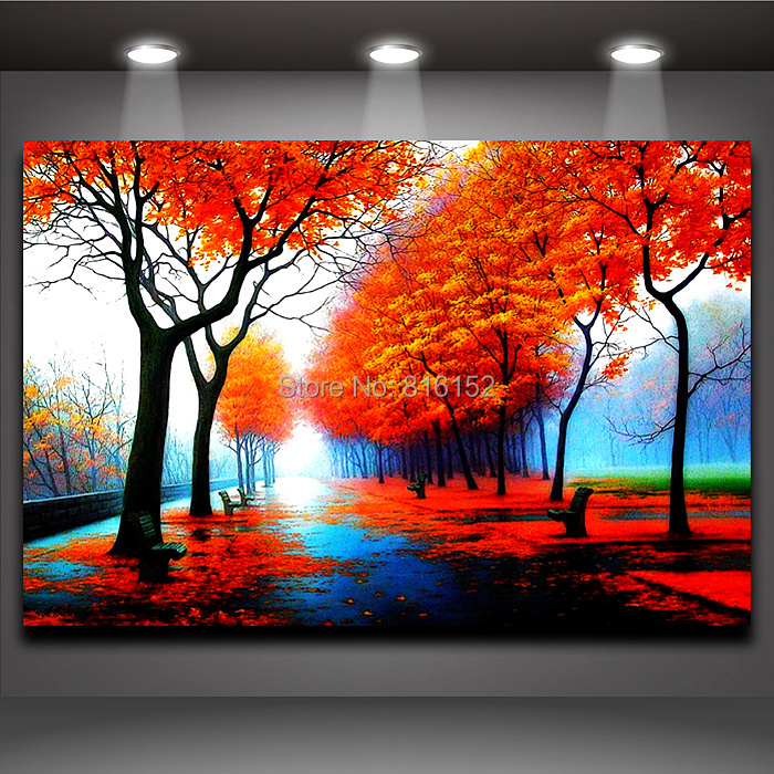 Modern Fall Colors Red Painting Wall Art Canvas Oil Print Decor Home or Office Decoration(China (Mainland))