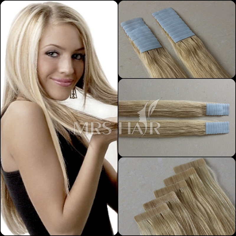 "Cheap tape 100% human hair extensions 18"" 20"" 22"" 20pcs tape remy brazilian thick skin weft colorful hair products Promotion(China (Mainland))"