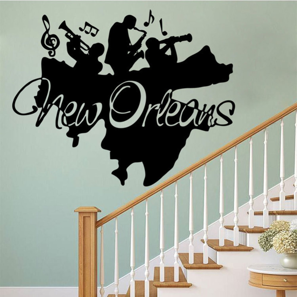 creative new orleans wall mural sticker jazz band wall applique poster home decor art wall. Black Bedroom Furniture Sets. Home Design Ideas