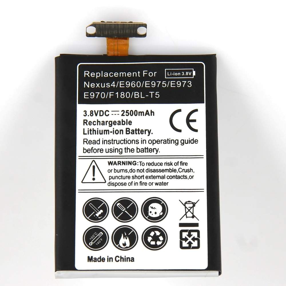 Brand New 3.8V 2500mAh Lithium-ion Rechargeable Battery Replacement For LG Google Nexus Nexus 4 E960 E975 E973 E970 F180 BL-T5