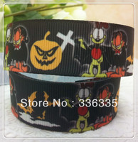 2013 new arrival 7/8'' 22mm halloween pumpkin printed grosgrain ribbon halloween ribbon celebrate it ribbon 20 yards
