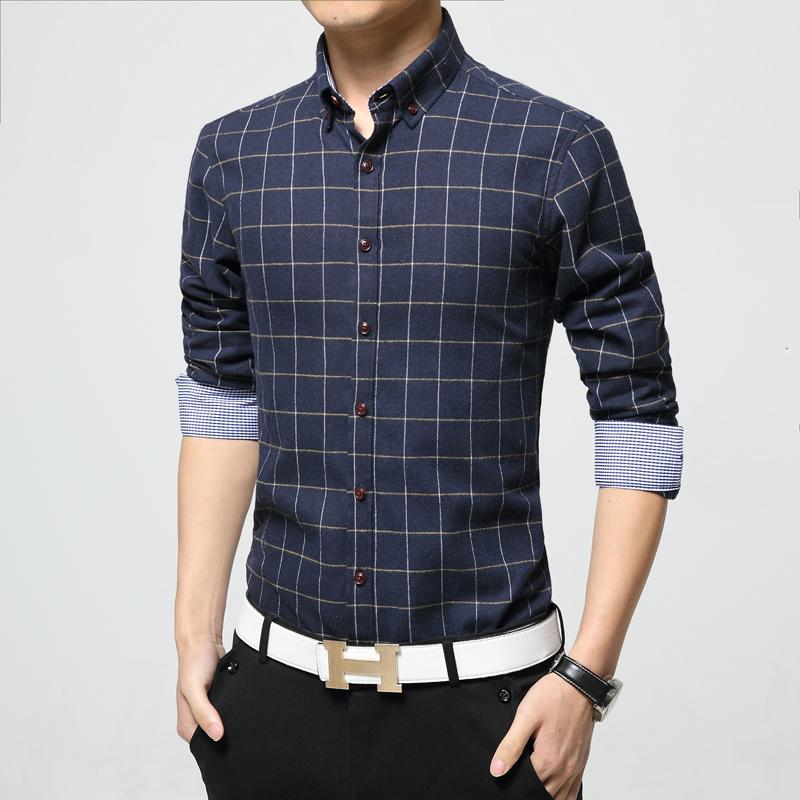Men 39 s fashion plaid shirt 2016 new men long sleeve shirts for Mens casual plaid shirts