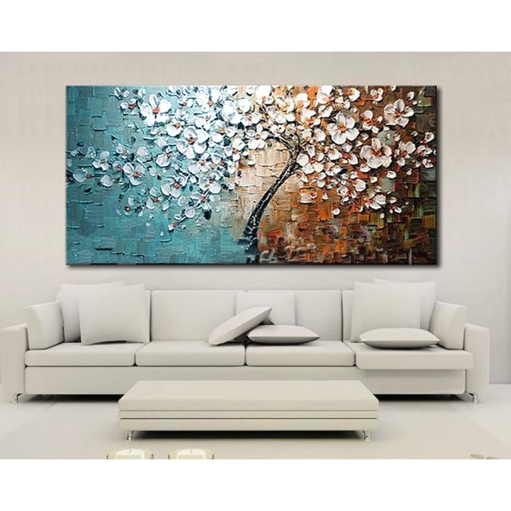 Unframed Hand Painted Canvas Oil Paintings Set Flower Tree