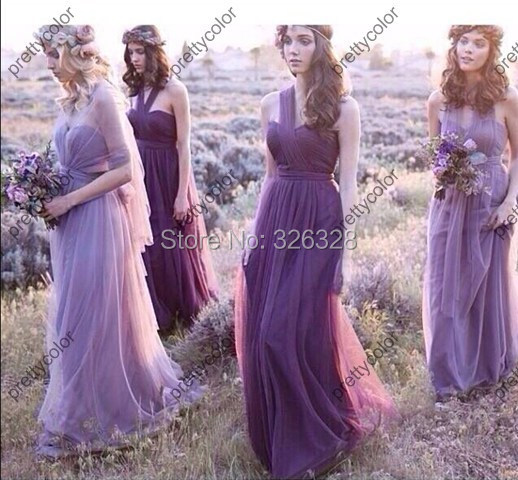 Convertible Bridesmaid Dress Purple Tulle Free Style Maid Honor Floor Length Long - Suzhou Pretty Color Wedding & Evening Co., Ltd. store