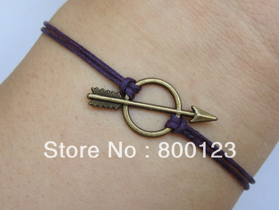SALES-,Antique Bronze Arrow Bracelet, Arrow Purple Wax Cords Bracelet-J005